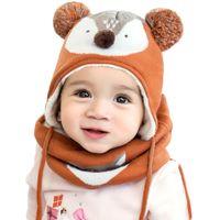 детский платок оптовых-Autumn Winter Children Plus Velvet Hat Scarf Set Baby Lovely Cartoon  Print Knitted hat Kids Cap Collar Boy Girl Neck Warmer
