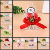 Wholesale birdcage bell resale online - 2018 New Wedding Favor Boxes White Metal Bell Birdcage Shaped with Flower Wedding Favor Supplies High Quality Candy Boxes