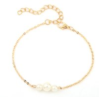 Wholesale Fake Gold Chains - Fancy Bracelets For Girls  Ladies , Fake Pearls Sweet Charm Alloy Gold Silver Tone Alloy Chain Bracelets