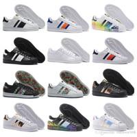 Wholesale Blue Silver Star - 2018 Seankers Sports Superstar White Hologram Iridescent Junior Superstars 80s Pride Sneakers Super Star Women Men Sport Running Shoes 36-45