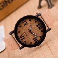 Wholesale Wood Wrist Watch Mens - 2018 watches top luxury brand mens watch Roman Numerals Wood PU Leather Band Analog Quartz Vogue Wrist Watches relogio masculino