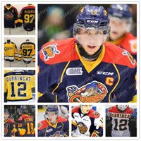 OHL Erie Otters Hockey  12 Alex DeBrincat 16 Brad Boyes 18 Vince Scott 19  Dylan Strome Stitched Navy Blue Yellow White Jerseys S-4XL 774256f82