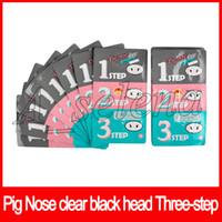 корейская процедура для лица оптовых-Свинья нос Маска Черноголовых Remover нос Маска три шага комплект глубоко моющее средство корейская косметика маска для лица лечение носа