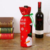 şarap şişesi yılbaşı çantası toptan satış-3 Stil Kırmızı Şarap Şişesi Kapağı Çanta Dekorasyon Ev Partisi Noel Baba Noel ambalaj noel merry christmas dekorasyon