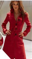frauen s kaschmir mantel groß großhandel-Neuer Herbst-Winter-Wollmantel-Kaschmir-mittlere Längen-Frauen-Oberbekleidung-Mäntel Dünner reizvoller Trenchcoats-großer Größen-Damen-Stoff Outwear-Mantel