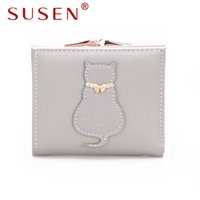 Wholesale People Clips - Susen 073 top leather Cartoon lovely Meow Star people women lady Iron money clip Square wallet package Business card