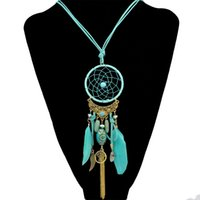 Wholesale black feather choker - Fashion Dream Catcher Necklace Alloy Wings Charm Feather Leather Resin Bead Tassel Pendant Necklace Women Girls Indian Jewelry