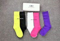 tanrıça bayan toptan satış-B Mektup Moda lady Çorap Katı Renk Tanrıça Pamuk Çorap 5 Pairs Kutusu Paketli Gelgit Çorap