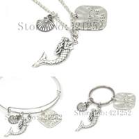 Wholesale bracelet seashells - 12pcs Mermaid Dreaming of the sea necklace keyring bracelet Ocean Charm Bangle adjustable Charm necklace Seashell Bracelet