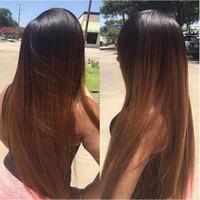 Wholesale malaysian auburn human hair wigs resale online - Pre Plucked Brazilian Straight Full Lace Human Hair Wigs Density Brazilian Ombre B Auburn Brown Lace Front Human Hair Wigs