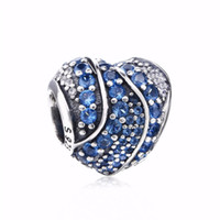 ingrosso charms pandora s925-New Authentic S925 Sterling Silver Bead Full Pave Blue Clear Crystal Love Hearts Charm Fit Pandora Bracelet Charms Gioielli fai da te