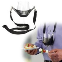 Wholesale plastic wine holder - Portable Black Wine Glass Holder Strap Wine Sling Yoke Glass Holder Support Neck Strap for Birthday Cocktail Party Bar Tools CCA9797 500pcs