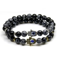 Wholesale acrylic plastic products - New Products 8mm Black Snowflake Stone Beads Buddha Palm Hand Bracelet, Yoga Meditation Energy Jewelry For Women and Men