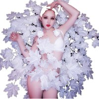 Wholesale led costume woman for sale - Group buy Nightclub Female Leading Dancer Costumes Bar Dj Singer Performance Outfits Model Show Catwalk Sexy White Wing Bikini Stage Wears