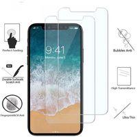 galaxy note protector mate al por mayor-Protector de pantalla de cristal templado de teléfono para iPhone XS Max XR X 8 7 Plus 6 6s Plus Película 9H Antivibraciones