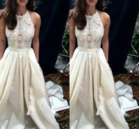 Wholesale elegant halter lace wedding dress online - Vintage Halter Neck Wedding Dresses Appliques Formal Sleeveless High Quality Sheath Real Pictures Elegant Bridal Wedding Gowns