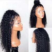 peluca de cola de caballo de pelo negro al por mayor-360 encaje frontal peluca rizada rizada 130% densidad completa natural 360 encaje peluca alta cola de caballo frente peluca de cabello humano frente para las mujeres negras