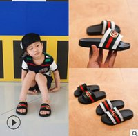 Wholesale girl kids sandals - Summer kids slippers brand boys girls metal buckle casual sandals fashion new children stripes PU comfortable beach shoes Y4357