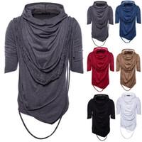 montones de collar al por mayor-Eur Size Heaps Collar con capucha camiseta mangas cortas de color sólido Hip Hop High Street Wear camiseta masculina