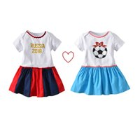 niedliches mädchen heiß großhandel-Hot Kids World Cup Kleid Baby Body Mädchen Nette Kurzarm Kleider Süße Baby Mädchen Kleidung