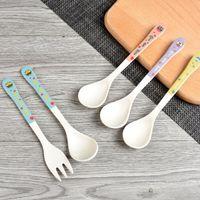Wholesale fiber foods resale online - 2Pcs Set Bamboo Fiber Children Fork Spoon Cartoon Baby Food Training Tableware Children Spoon Flatware QW8887