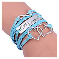 encantos leves venda por atacado-Moda Infinito Amor Coração One Direction Amizade Leather Charm Bracelet 17.5 + 4.5 cm Luz azul