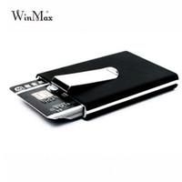 ingrosso scatole di biglietti da visita nere-Porta carte di credito di qualità nera marca Winmax Portafoglio impermeabile tasca porta soldi in alluminio da uomo d'affari Porta carte d'identità