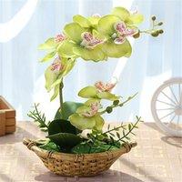 ingrosso fiori farfalle decorativi-Artificiale Farfalla Orchidea Bonsai Simulazione Fiori artificiali decorativi Orchidea finta con ornamenti di vasi Casa Capodanno Decorazione