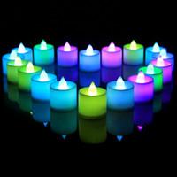 ingrosso luci a tè bianco a batteria-Candele luminose a LED bianche a LED a batteria Luci a led in cristallo a batteria Flicker Fiamma senza fiamma Festa di compleanno Decorazione natalizia