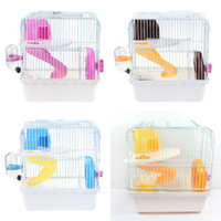 Wholesale pets pigs - Double Layers Hamster Cage Easy To Install Removable Plastic Guinea Pigs House Multi Function Pet Accessories Top Quality 21jy BB