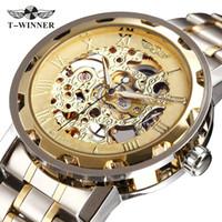 winner watch classic 2018 - WINNER Golden Watches Men Skeleton Mechanical Watch Stainless Steel Strap Top Brand Luxury T-WINNER Classic Wristwatch 17 COLORs