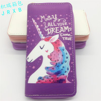 Wholesale multicolor ladies wallet resale online - Novelty The Explosion Cartoon Animal Wallet PU Unicorn Student Clutch Bag Lady Long Zipper Purse In Stock jr W