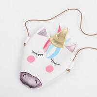 mini sacos de couro para meninas venda por atacado-Meninas do bebê unicórnio Messenger Bag PU Couro Dos Desenhos Animados Miúdos Bonitos Mini bolsa de Ombro Boutique Novo 2018 Coin Purse C4365
