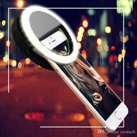 selbstbedienung für handy großhandel-Handy LED Ring Selfie Light Spiegel Zusatzbeleuchtung Night Darkness Selfie Verbesserung für Fotografie mit Ladekabel