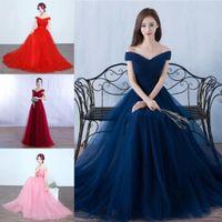 темно-синее платье из тюля оптовых-Пользовательские новый темно-синий дешевые линии невесты Платья V шеи тюль формальные фрейлина платья свадебные платья партии платья Vestidos