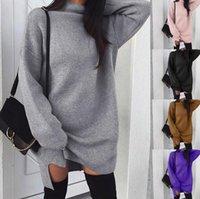 turtleneck langes kleid großhandel-Frauen Herbst und Winter Stil Stehkragen Pullover Kleid einfarbig lose lange Strick Kleid Rollkragen