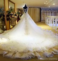 Wholesale Ball 3d Model - Hot Luxury V-Neck Ball Gown Long Train Silk Organza Lace Applique Zuhair Murad 2017 Church Wedding Dresses Crystal Beaded Bling Bridal Gowns
