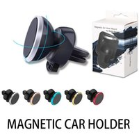 telefon auto magnethalter großhandel-6 Magnetperlen Metall Air Vent Magnetischer Handyhalter für iPhone Samsung Magnet Autotelefonhalter Aluminium Silikon Mount Halter Stand