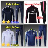 Wholesale children's suit jacket for sale - New kids Paris tracksuit psg soccer jogging jacket MBAPPE POGBA Paris child Football Training suit
