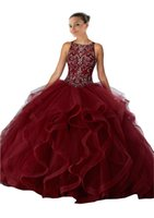 Wholesale wine color embroidery - Vintage Wine Red ball Gowns Embroidery Quinceanera Prom Dresses Sheer Neck Ruffles Tulle Keyhole Back Corset Evening Formal Gowns Long