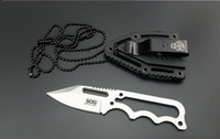Wholesale sog fixed blade knifes resale online - 1Pcs Sample Sog Necklace Survival Knife HRC CR15MOV Steel Satin Blade Outdoor Hunting Tactical Knives Camping Outdoor EDC Tools