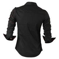 boutons pour manches de chemises pour hommes achat en gros de-Drapé Décontracté Chemises Dress Homme Vêtements Pour Hommes À Manches Longues Social Slim Fit Marque Boutique Coton Western Bouton Blanc Noir