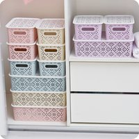 Wholesale Desktop Drawers - Hollow Desktop Underwear Storage Box Drawer Plastic Finishing Box Home Covered With Bra Underwear Storage Box