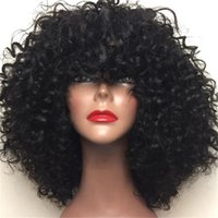 Wholesale remy human hair bangs online - Remy Virgin Hair Lace Front Wigs With Baby Hair Brazilian Curly Glueless Full Lace Human Hair Wigs With Bangs For Black Women
