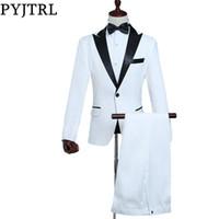 PYJTRL Hommes Classique Noir Revers Blanc Costumes Scène De Chanteur  Costume Costume Hommes Dernières Manteau Pantalon Designs Slim Fit Tuxedos Pour  Hommes da1a38c0255