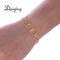 kundenspezifisches armband personifizieren sie großhandel-Duoying Double Chain Link Armband DIY Custom Großbuchstaben Armbänder Personalisierte Schmuck Initialen Name Armband neu für Etsy