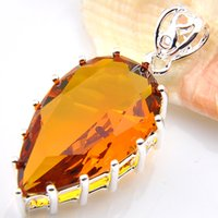 Wholesale Citrine Wholesale - 6 Pieces Luckyshine Brazil Citrine Gems 925 Sterling Silver Pendants for Neckalce Russia Canada Drop Easter gift Jewelry