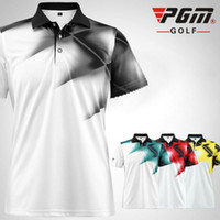 Wholesale uniform apparel - Pgm golf shirts men sports summer golf apparel quick dry t-shirt breathable elastic short-sleeve uniforms clothing 4 Colors