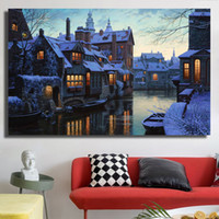 Wholesale city room decor for sale - Group buy Canvas Prints Bruges City Oil Painting for Living Room Posters and Prints Home Decor No Framed