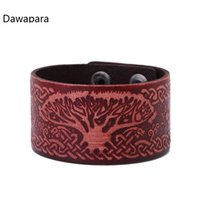 armband leder unendlich großhandel-Dawapara Punk Rock Infinite Knot Life von Tree Sigil Wicca Amulett Armband Herren Lederarmbänder